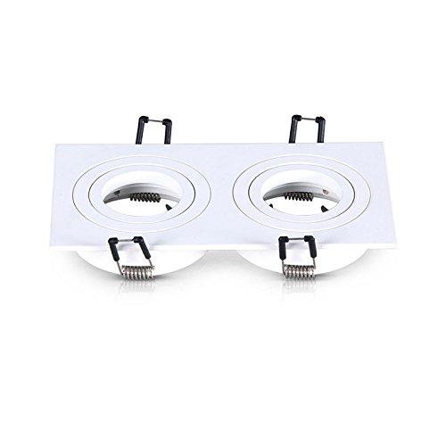 Vision-EL 77717 Support de spot rond double blanc, Aluminium, ((H x L)-28 x 175 mm