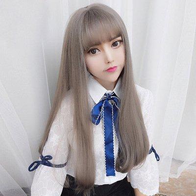 CJJC- Schönheit Lange Lockige Perücken Synthetische Mode Frauen Weiche Perücken Mit Luft Pony Anime Kostüm Frisur Für Frauen Cosplay Kostüm Party Täglichen Gebrauch (Natur, Grau)