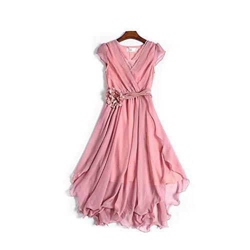 Rocke Frauen Chiffon Kleid Sommer Slim Kleid Sommer Rock Super Fairy Slim Taille Lace Fairy Kleid (Farbe : Rosa, Size : XL)