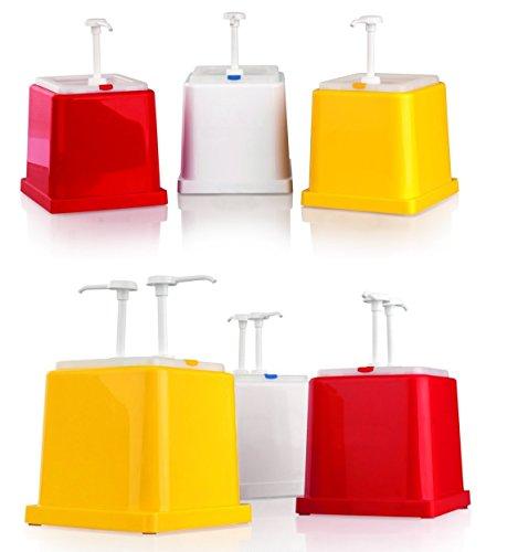 GN Saucenspender (für Ketchup, Senf oder Mayonnaise - mit 1 oder 2 Pumpen) aus ABS/GN Behälter aus Polypropylen / Inhalt: 2,40 Liter, GN 1/6, 25 x 25 x 25 cm (Senf, mit 2 Pumpen, Gelb) Senf Pumpen