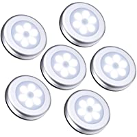 Oria Luz de Noche con Sensor de Movimiento, Luces Nocturnas 6 LED de Pilas con Almohadillas Adhesivas y Imán Integrado, Auto En/Apagado, Perfecto para Pasillo, Escalera, Cocina -6 Unidades/Blanco