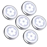 ORIA 6 Pack Motion Sensor Light, cordless Battery-Powered Light, Automatic Night Light with 3M Adhesive Pads, Stick-Anywhere, Perfect for Closet, Hallway, Stairs, Bedroom,ect.-Pure White