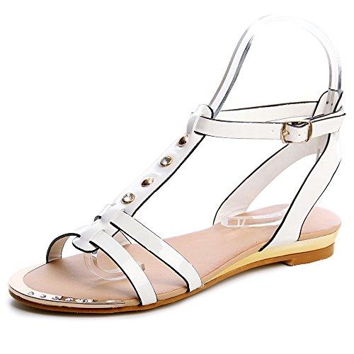 topschuhe24 544 Damen Riemchen Sandalen Weiß