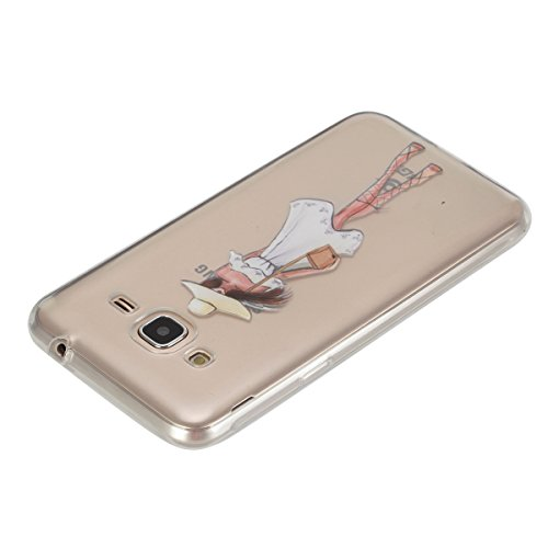 JAWSEU Coque Etui pour Samsung Galaxy J3/J3 2016,Samsung Galaxy J3/J3 2016 Coque en Silicone Transparent,Samsung Galaxy J3/J3 2016 Silicone Coque Cristal Clair Etui Housse,Samsung Galaxy J3/J3 2016 So pretty girl