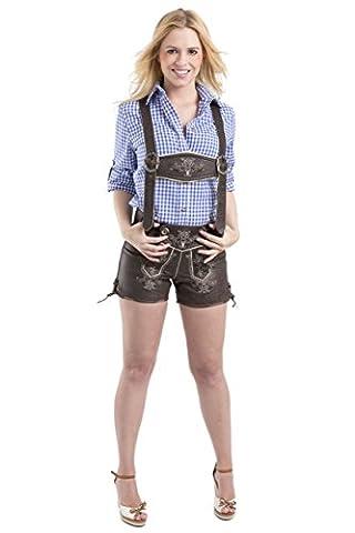 Damen Paulina Trachten Lederhosen Oktoberfest Hotpants - Vintage kurz - Büffelleder Trachtenlederhose Hose (32, dunkelbraun)