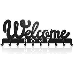 Welcome Home Portachiavi da Muro (10- Ganci) Decorativo, Ganci in Metallo per Porta d'ingresso, Cucina, Garage | Organizza le Chiavi di Casa, Lavoro, Macchina, Veicoli | Arredamento Vintage