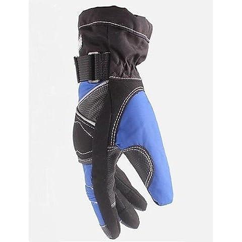 DZXGJ® el invierno de alta calidad a prueba de viento caliente 100% guantes de moto impermeable completo dedo bicicleta de carreras guante protector , black&blue-xl ,