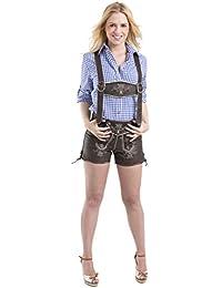 Damen Trachten Lederhose - Vintage kurz - Büffelleder Trachtenlederhose - Hose dunkelbraun