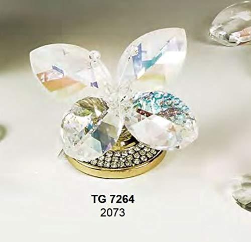 Farfalla media cristallo swarovski su piedistallo in acciaio dorato made