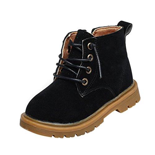 URSING Winter Schnee Warm Ankle Lace-Up Kind Britisch Single Soft Retro Martin Stiefel Sneakers Kinder Jungen Mädchen PU-Lederstiefel Kinder Baby Freizeitschuhe (26, Schwarz) (Lace Up Stiefel Kind)