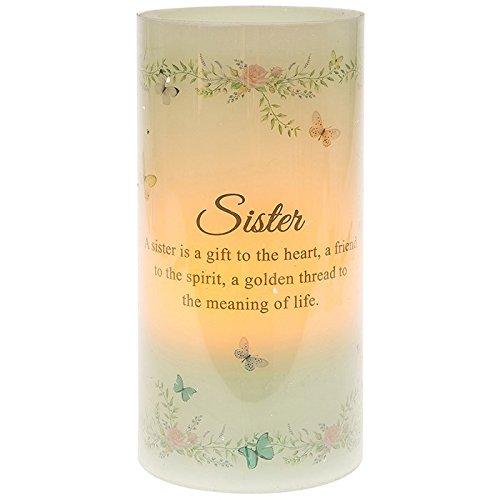 Hermana vela LED con mensaje en inglés. Y flores Y Mariposa detalles