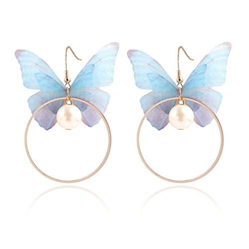 LYFLYF Mode-Accessoires Persönlichkeit Kreis Ohrringe Ohrringe Double Layered Tüll Schmetterling Ohrringe,Blue (Gold Tüll-kreis)