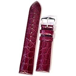 Hirsch Croco grain leather watch strap L , Purple, Buckle, 20mm