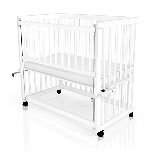 Baby Beistellbett, Babybett, höhenverstellbar, Weiß oder Kiefer inclusive Matratze, Farbe:weiß