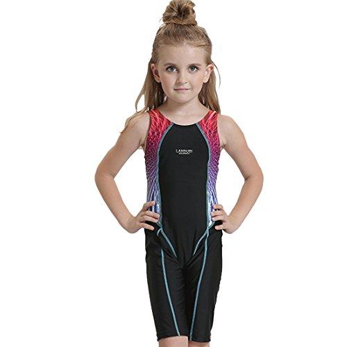 G WELL Kinder Badeanzug Wettkampf Einteilige Schwimmanzug Ärmellose Tauchanzug für Mädchen Jungen Blau 140