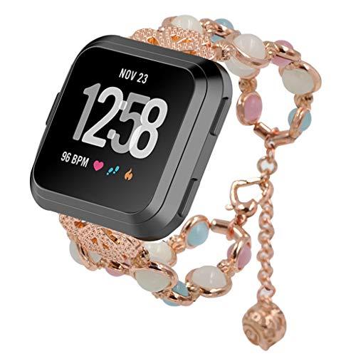 Hukz Leuchtband,Justierbares Armband Handgemachte Night Luminous Bracelet Armband für Fitbit (Rose Gold)