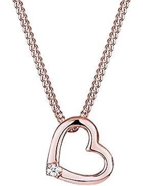 Diamore Damen Halskette Herz 925 Sterling Silber Diamant 0,02 ct