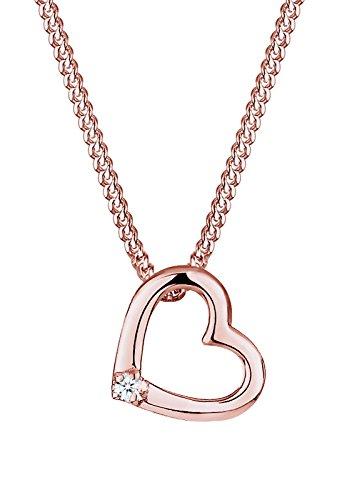 Diamore Damen Halskette Herz 925 Sterling Silber Diamant rose Vergoldet 0,02 ct Gold Länge 45 - Diamant-schmuck Halskette