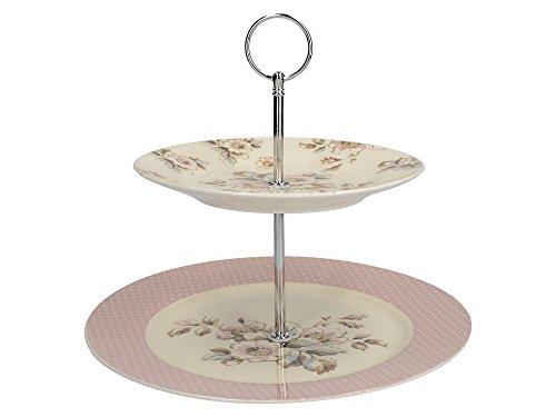 Katie Alice Cottage Flower vintage-inspirierte mehrfarbiger Porzellan-Kuchenständer mit zwei Ebenen Antique Fine China
