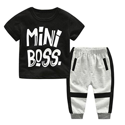 Jimmackey Neonato Bambino T-Shirt Stampa Lettera Camicia Cime + Casuale Pantaloni Abiti Set (Nero, 5 Anni)