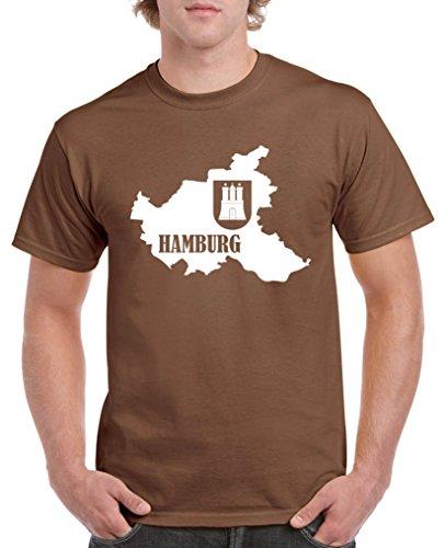 Comedy Shirts - Hamburg Landkarte mit Wappen - Herren T-Shirt - Braun/Weiss Gr. S