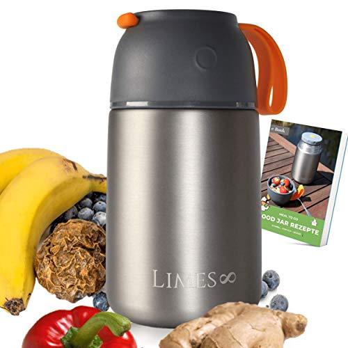 Limes 8® Thermobehälter Lunchbox 700ml Edelstahl Isolierbehälter | Food Jar auslaufsicherer Speisebehälter Essen | Thermo Gefäß Babynahrung Speisegefäß Diätkost Müsli to go BPA-frei