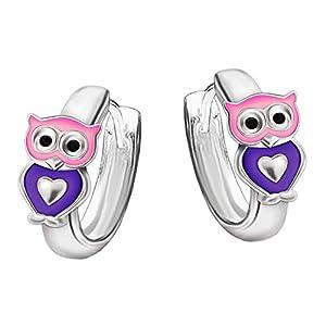 Clever Schmuck Silberne kleine Mädchen Creolen Ø 10 mm Mini Eule mit Herz rosa violett glänzend STERLING SILBER 925