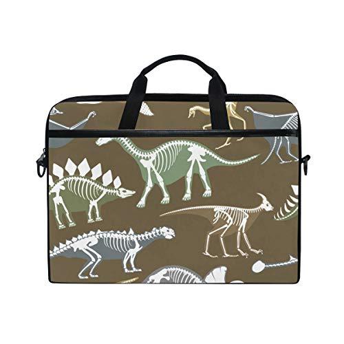 Ahomy 14 Zoll Laptop Tasche Dinosaurier Skelett Knochen Canvas Stoff Laptop Tasche Bussiness Handtasche mit Schultergurt für Damen und Herren -