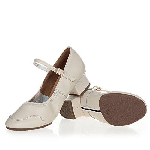 Wxmddn Scarpe da ballo femminile scarpe di riso bianco quattro scarpe da stagione scarpe da danza adulta suole morbide Bianco Beige