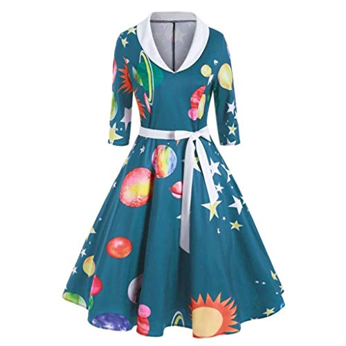 Toolong Frauen Herbst Retro Neunten Ärmel Stand Print Lace-Up Tunika Big Baggy Kleid -