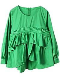 f4ff4afdc Camisas Mujer Manga Larga Vintage Elegantes Cuello Redondo Asimétrica  Dobladillo con Volantes Joven Bastante Blusas Primavera Moda…