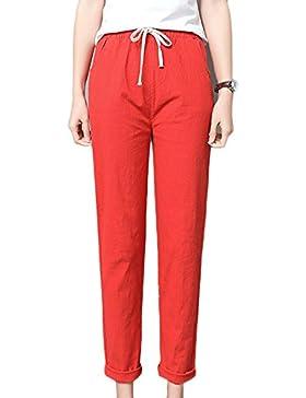 Guiran Mujer Verano Cintura Elástica Lino Pantalones Suelto Pantalones Color Sólido Pantalones De Deportes Naranja S