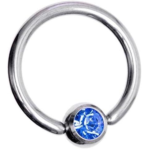 Piercing BCR cautivo Boutique de acero quirúrgico del anillo del grano del pendiente del aro de colores gema 1,2 mm de espesor (calibre 16) x 10 mm de diámetro de la pieza de un color azul