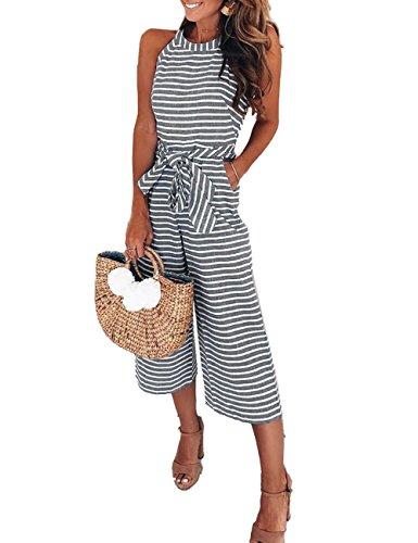Boutiquefeel Damen Stripe Hohe Taille Wide Leg lange Hose Jumpsuits mit Gürtel Grau L (Sexy Stripe Halter)