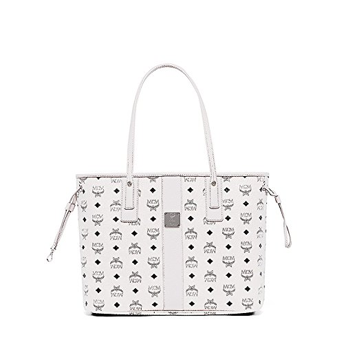 MCM Damen Reversible Shopper Liz Medium Weiss (Shopper Reversible)