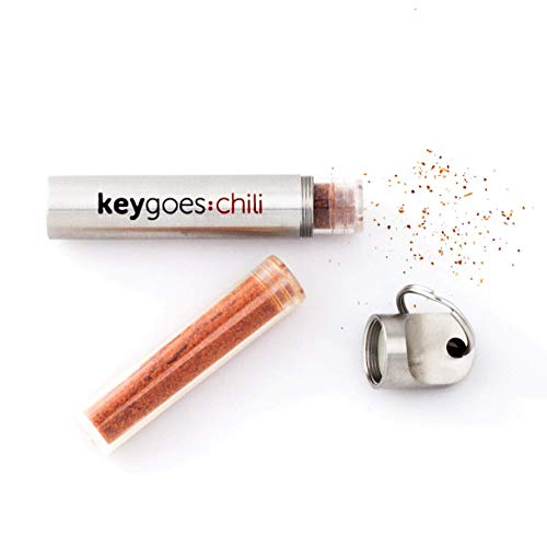 keygoes:chili Edelstahl-Schlüsselanhänger Chili-Streuer | Mit Den Zwei allerschärfsten Chili-Sorten: Trinidas Moruga Scorpion + Carolina Reaper Pulver | Unvergleichliches Gadget & Ideales Geschenk
