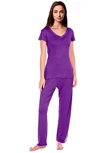 Donna Arco Assetto Comodo PJ Set Pigiama Viscosa di PJ pigiama donna Abbigliamento Casual Viola