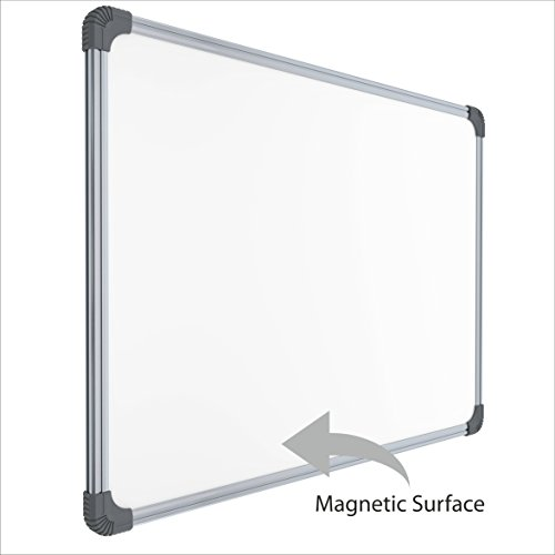 Pragati Systems Genius Whiteboard for Home, Office and School, Lightweight Aluminium Frame With Steel Writing Surface, Magnetic, 1.5×2 Feet
