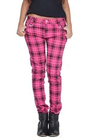 Jawbreaker tartan plaid punk rockability trousers - pink & black (10)