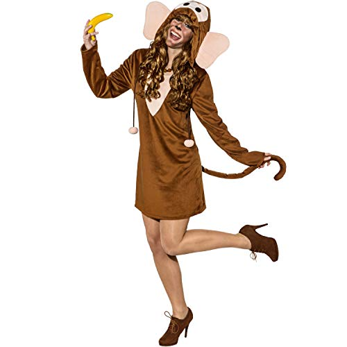 dschungel kostuem damen Faschingskostüm Damen Affen Kleid mit Kapuze (42/44)