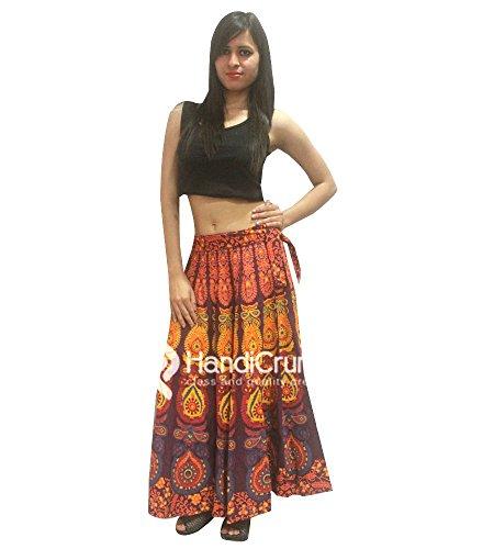 Baumwolle Floral Print Rock (handgemachte Exporte indische 100% Baumwolle Frauen lange Rock Hippie Pfauenfeder Mandala Rapron Floral Rajasthani Druck Maxi Röcke für Boho Frauen)