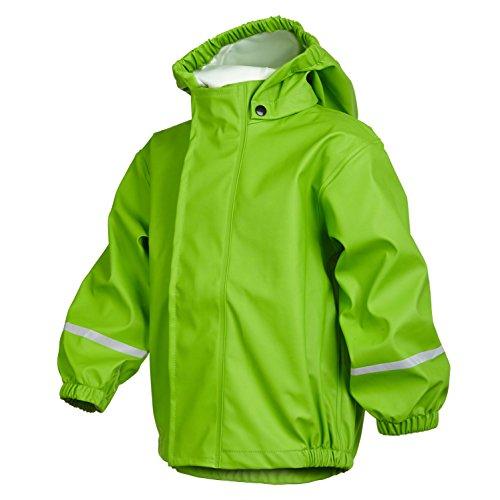 smileBaby wasserdichte Kinder Regenjacke Regenmantel mit abnehmbarer Kapuze Unisex in Grün 128