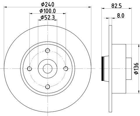 Disque de frein HELLA 8DD 355 123-241