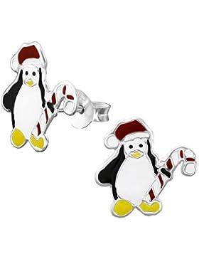 Ein Paar Kleine Weihnachts Pinguin Ohrstecker aus Sterling Silber (925 Stempel) 1,4 cm x 1 cm - Inklusive Geschenkbox
