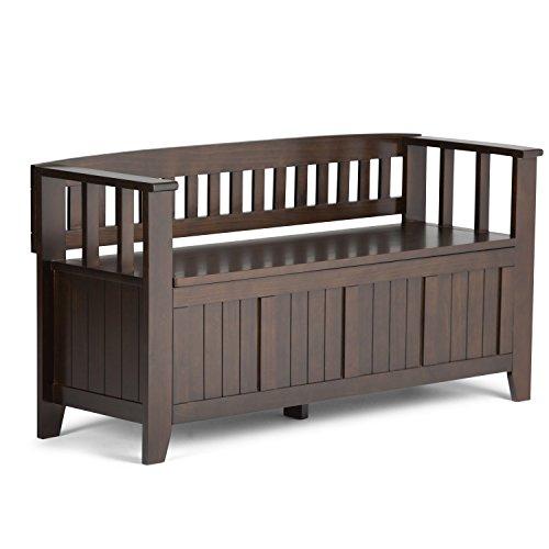Braun Storage Bench (Simpli Home AX2370 Acadian Entryway Storage Bench, Holz, tobacco braun, 121.92 x 43.18 x 64.77 cm)