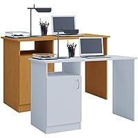 VCM Desas Table d'ordinateur, Imitation de Structure Bois, Blanc, Taille Unique