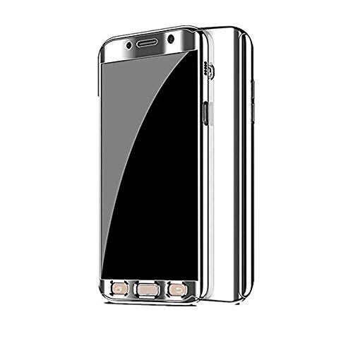 Kompatibel Samsung Galaxy S7 Hülle, Samsung Galaxy S7 Edge Hüllen 3 in 1 Ultra Dünner PC Harte Case 360 Grad Ganzkörper Spiegel Schutzhülle für Galaxy S7/S7 Edge (Samsung Galaxy S7 Edge, Silber)