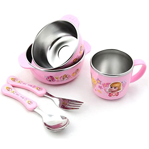 Princess Characters Suction Baby Toddler Bowls Stainless Steel Tableware Feeding set Kids Snack Bowls Dinnerware BPA Free/Anti-slip silicone/Fork, Spoon, Two Bowls, Cup/Great Gift/Set of 5
