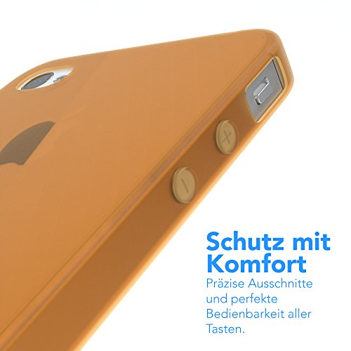 "EAZY CASE Handyhülle für Apple iPhone 4S, iPhone 4 Hülle - Premium Handy Schutzhülle Slimcover ""Clear"" - Transparentes Silikon Backcover in Klar / Durchsichtig Matt Orange"