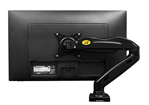 """NB F80 Noir - Support design professionnel pour écrans PC LCD LED 43-69 cm / 17-27"""". Réglage dans plusieurs axes, pivot, qualité supérieure. Ressort à gaz. jusqu'à 6,5 kg"""